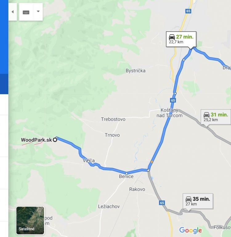 Mapa trasy z chaty na hrad Sklabiňa