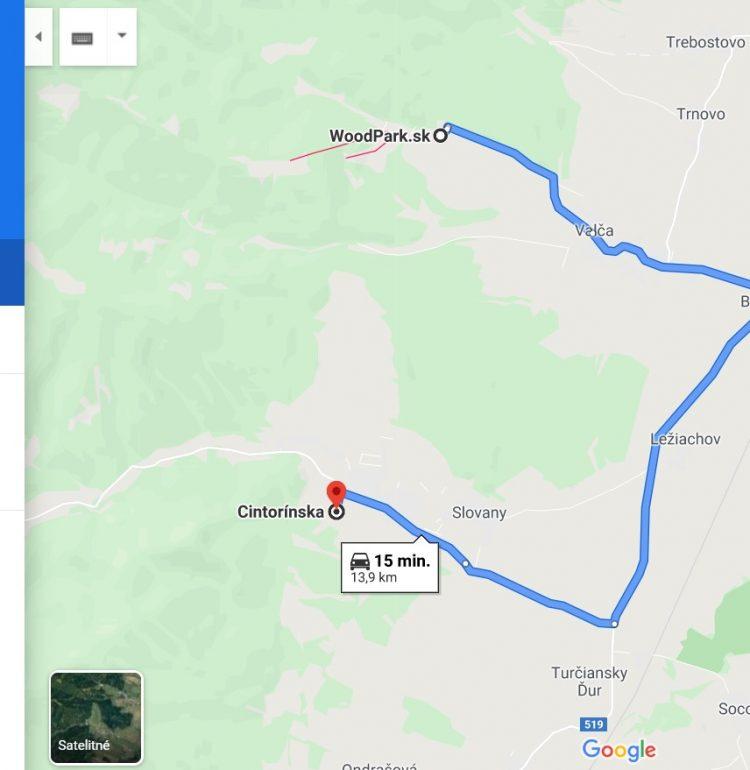 Hrad Zniev - mapa