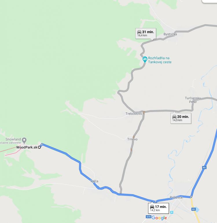 Mapa z Woodparku do Muzea Slovenskej dediny