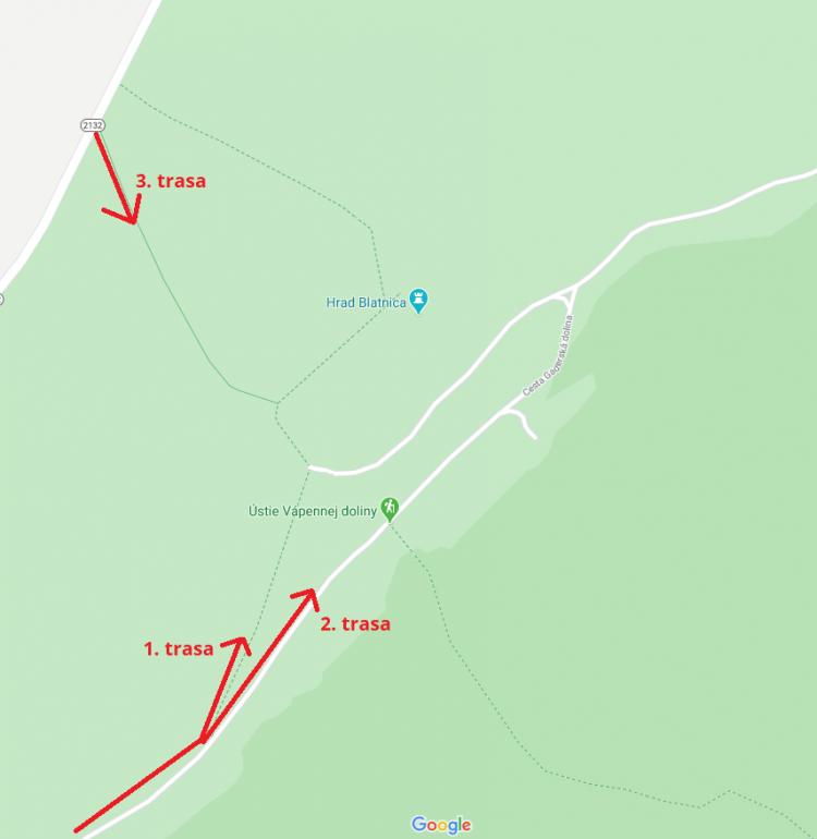 Možnosti trasy pre výstup na hrad Blatnica