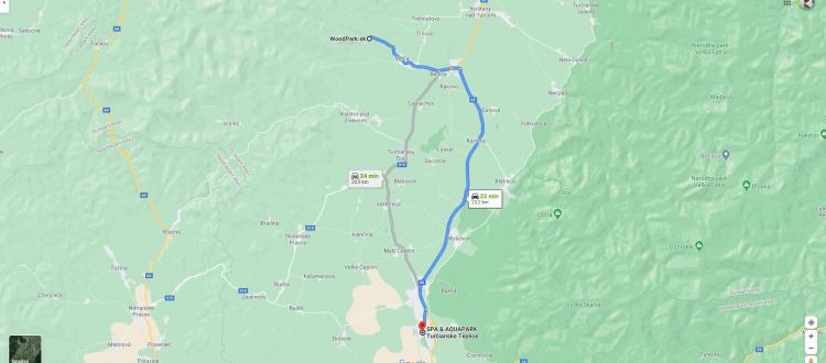 Mapa z chát do Aquaparku Turčianske Teplice