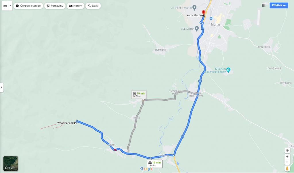 Mapa k motokáram v Martine